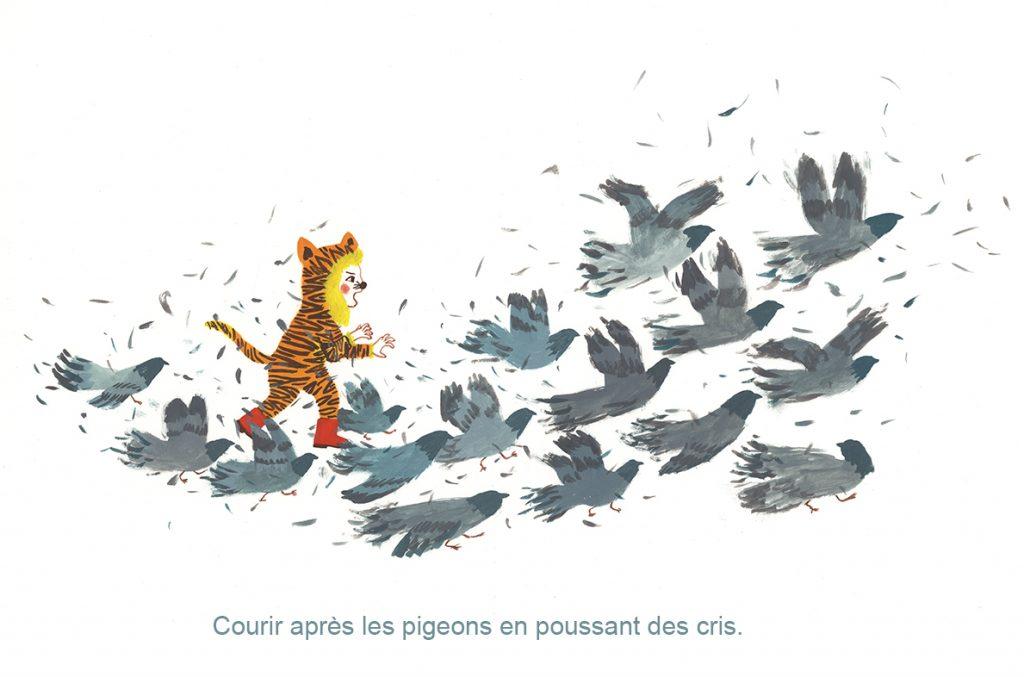 courir apres les pigeons